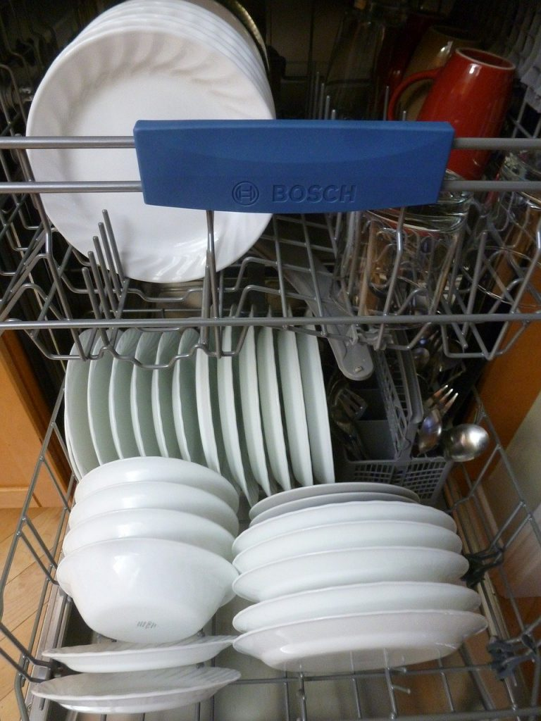 dishwasher, interior, dishes